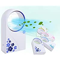 Portable USB Air Conditioner Mini Fan Ultra Mute Bladeless Handheld Personal Summer Cooling Fan USB (Random color ( Pink / Purple / Blue / Green ))