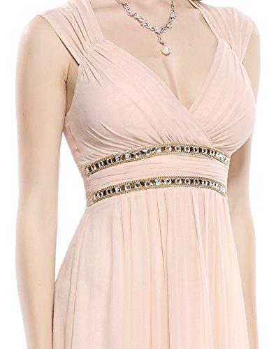 Ever Pretty - Vestido largo de noche elegante con cuello en V - 08697 Nude Pink
