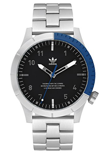 adidas Watches Cypher_M1. Men's 3 Link Solid Stainless Steel Bracelet, 22mm Width (Silver/Black/Blue. 42 mm). ()