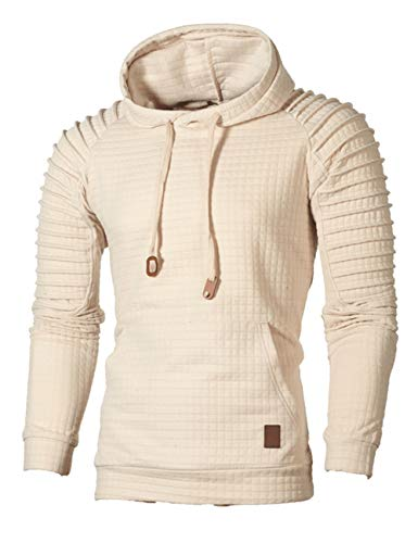 Sexyshine Men's Spring Autumn Winter Casual Long Sleeve Funnel Neck Plaid Pleated Pullover Hooded Top Sweatshirt Hoodies(883AP,2XL)
