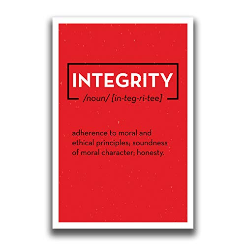 JSC511 Definition of Integrity Dictionary Style Poster Red | 18-Inches by 12-Inches | Motivational Inspirational Educational | Premium 100lb Gloss Poster Paper