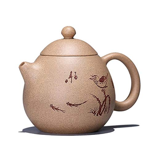 220CC Chinese Classic Yixing Purple Clay Teapot Raw Ore Handmade Authentic Carved Tea Kettle Drinkware