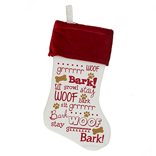 """18"""" Off-White, Red and Brown Screen Printed Dog Themed Velvet Cuffed Christmas Stocking"""