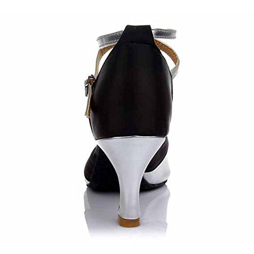 HROYL Zapatos de baile/Zapatos latinos de satén mujeres ES-806 7CM Plateado