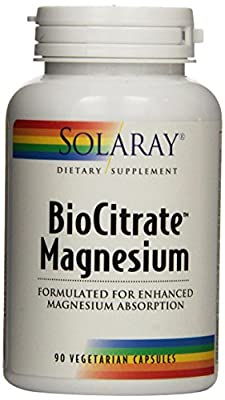 Solaray Biocitrate Magnesium Supplement, 400 mg, 90 Count