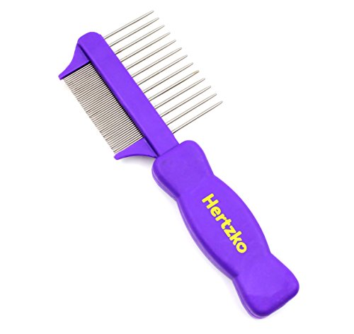 Hertzko Double Sided Flea Comb Removes Fleas, Flea Eggs and Debris and the Wider Spaced Pins Detangles and Loosens Dead Undercoat