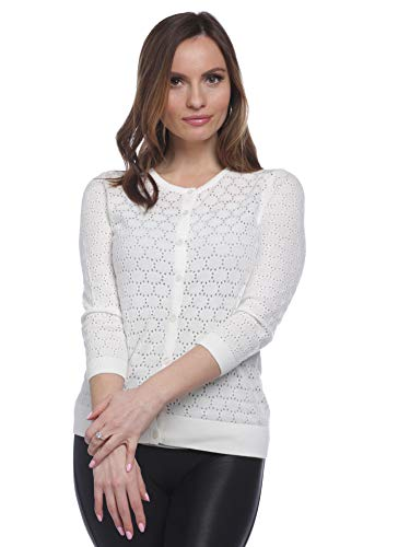 August Silk Women's 3/4 Sleeve Circle Pointelle Stitch Cardigan, Coton Ball, Medium ()