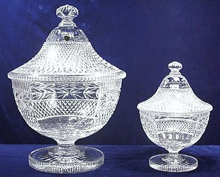 Kusak Cut Glass Works Cherry Diamond Masterpiece Trophy Covered Compote 16
