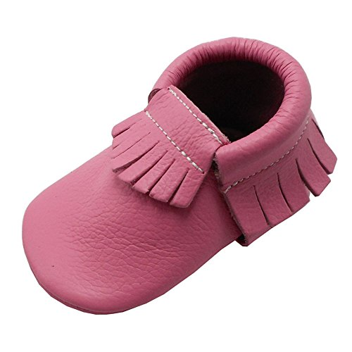 YIHAKIDS Baby Shoes Soft Leather Sole Infant Kids Crib Toddler Baby Moccasins Pink (3-6 Months, (Baby Pink Leather)