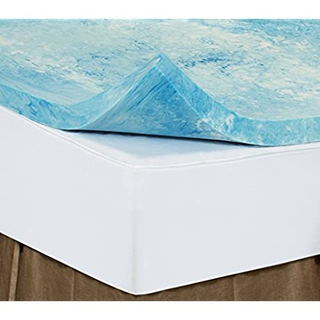 Cal King 4 Inch ISoCore Gel Infused Swirl 6 0 Memory Foam Mattress Topper With Expandable Cover And Two Classic Comfort Pillows Included