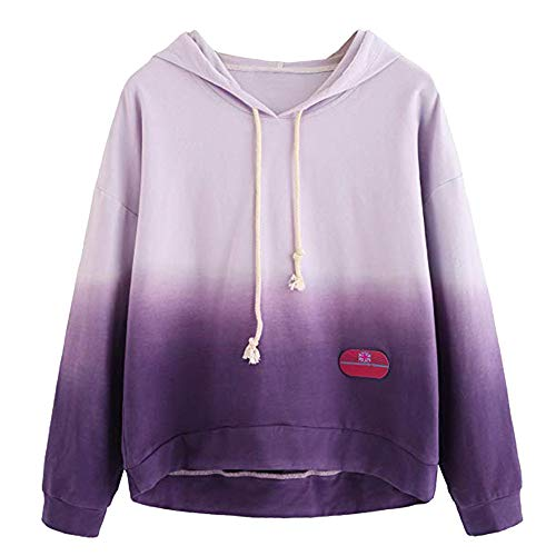 - KIKOY Long Sleeve Women Hoodie Print Patchwork Sweatshirt Pullover Tops Blouse Purple