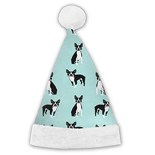 booskaneews Boston Terriers Xmas Christmas Christmas Santa Hat Holiday Theme Hats 3D Graphic Printed for Adults and Children