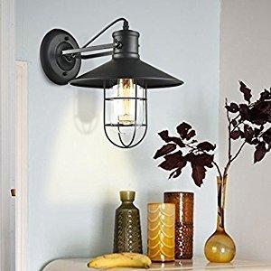 Kiven Vintage Wall Light Retro Industrial Edison Glass Lampshade Iron Mini Wire Cage Plug-in Wall Sconce Iron Shade Wall Lamps Sconce Fixtures for Loft Bar Pub Hotel Bedroom 1-Light