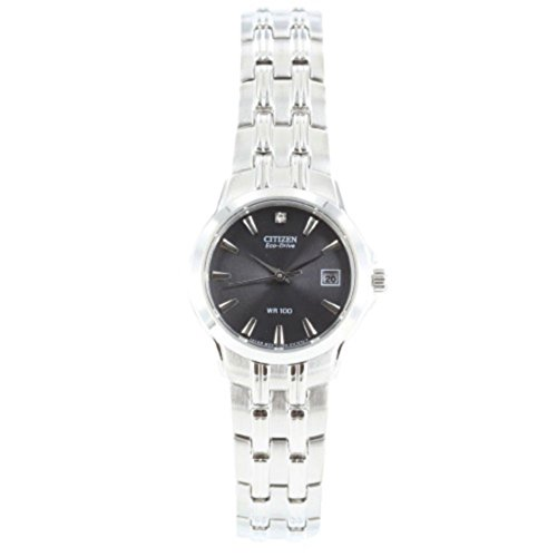 Ladies-Citizen-Eco-Drive-Stainless-Steel-with-Diamond-Dial-Wristwatch-EW1540-54E