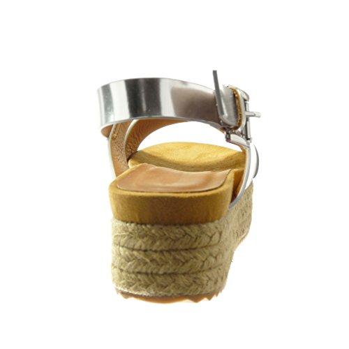 Angkorly - Chaussure Mode Sandale Espadrille plateforme femme lanière boucle Talon compensé plateforme 5 CM - Argent