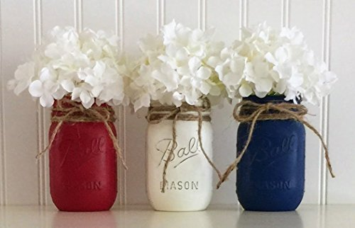 Mason jar set - 3 piece, Red, White, and Blue, 4th Of July -