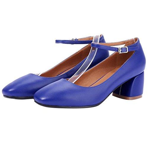 Mid Ankle Blue Court Heels Toe AIYOUMEI Pumps Shoes Square Block Leather Ladies Strap EXxRnqgZw