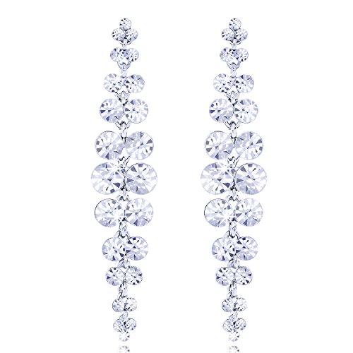 Bridal Wedding Elegant Jewelry Silver Tone Crystal Long Tassel Earrings Bridesmaid Fringe Dangle Clear (Lucky Rhinestone Earrings)