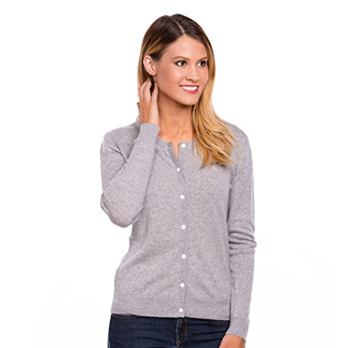 Urban Boundaries Women's 100% Cashmere Cardigan Sweater (Grey, Medium 8-10)