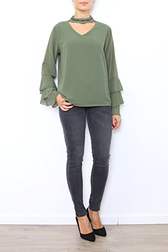 Manga Camiseta Redondo Para Mujer Larga Caqui Lyse Básico Cuello De EY6RdpExnq