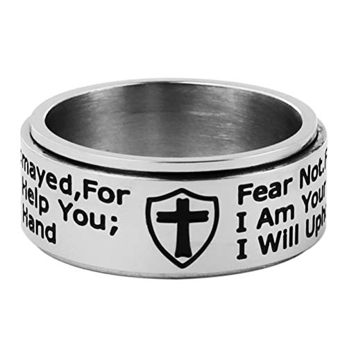HZMAN Knights Templar Cross Shield Stainless Steel Ring Isaiah 41:10 Strength Bible Verse Jewelry Wide 10mm Rings (Silver, 11)