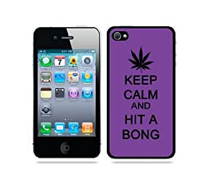 Keep Calm And Hit A Bong Purple - Protective Designer WHITE Case - Fits Apple iPhone 4 / 4S / 4G