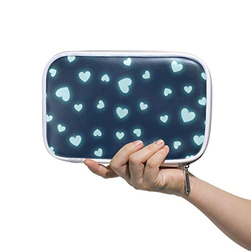 ILEEY Hearts Page Webpage Website Blog Pencil Case Cosmetic Bag Large Capacity Organizer Makeup Clutch Pouch for Travel School