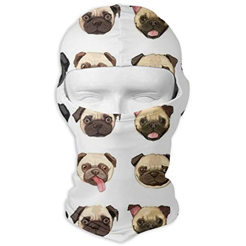 Men & Women Winter Balaclava Cute Funny Pug Dog Wind-Resistant Helmet Liner Mask Polyester Multifunctional Hat Scarf for Motorcycle, Snowboard, Outdoors
