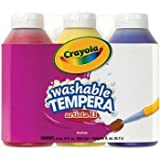 : Crayola; Arista II Washable Tempera Paint; Primary Colors (Red, Yellow, Blue), Art Tools; 3 ct 8-OZ Bottles; Great for Classroom Projects