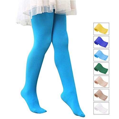 Zando Girls Stretchy Dance Tights Comfort Cotton Colorful Leggings Pants Elastic Ballet Footed Tight for Girl Blue Medium