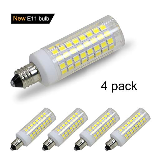 [4-Pack] E11 led Bulb, 75W or 100W Equivalent Halogen Replacement Lights, Dimmable, Mini Candelabra Base, 850 Lumens, Daylight 6000K,AC110V/ 120V/ 130V, Replaces T4 /T3 JD e11 Light - 100w Mini Candelabra