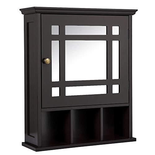 Yaheetech Bathroom Wall Mount Cabinet, Wooden Storage Organizer Unit with Mirror Door -