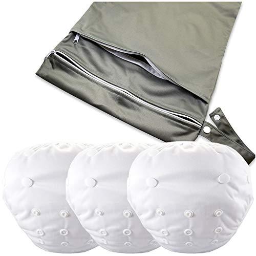 (Zelda Matilda Reusable Adjustable Swimsuit Swim Diapers - 3 Pack + Wet Dry Bag 8-36 lb UPF 50)