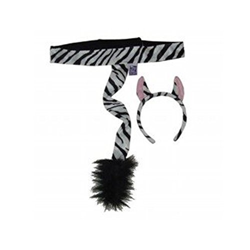 Kids Plush Zebra Headband Ears & Tail Jungle Safari Dressup Costume Set