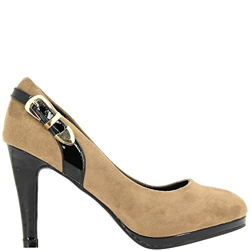 ChaussMoi Zapatos Taupe Mujeres y Negro Tacón Extremo 9.5 cm