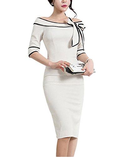Damen Etuikleid Kurzarm Bodycon Tunikakleid Pencil Kleider Bodycon Knielang  Figurbetontes Cocktailkleid Weiß iHIpjSt 224750d1e1