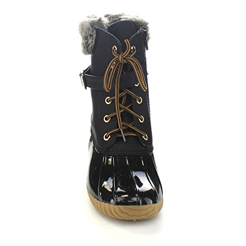 01 Snow Boots Chic Women's Black Duck Buckled Waterproof Up Nature Lace Breeze Duck 4qwTEECxZ