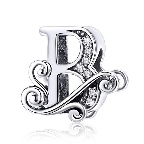 BAMOER 925 Sterling Silver Initial Letter B Charms for Snake Chain Bracelet Necklace Alphabet Beads