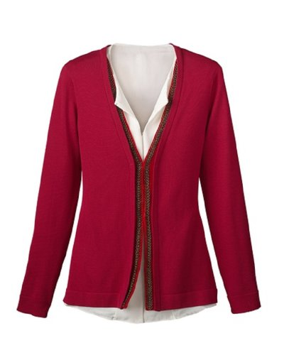 Coldwater Creek Bugle Beaded Cardigan  Regal Red  Extra Small  4