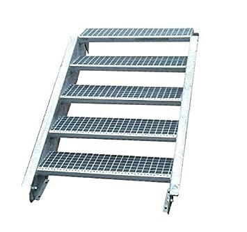 Stahltreppe Aussentreppe Wangentreppe Verzinkt 5 Stufen Gh 70 105 Cm