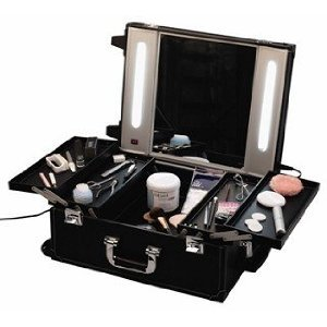 Professional Mobile Beauty Cosmetics Makeup Box with Lights on Trolley Wheels