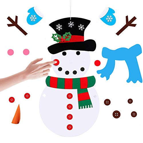Nyicey Christmas DIY Felt Christmas Snowman Games Set Detachable Ornaments, Wall Hanging Xmas Gifts for Christmas Decorations