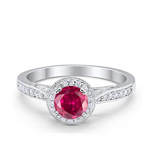 Blue Apple Co. Halo Art Deco Engagement Wedding Promise Ring Round Simulated Ruby Cubic Zirconia 925 Sterling Silver - Mens Silver Ruby Sterling Simulated