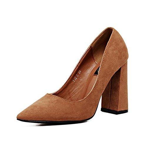 Confort 35 pointu BROWN mxx Talon chunky sandales Casual Talons Bas Été suède LvYuan Printemps pointe Femmes CRZAXxqXw