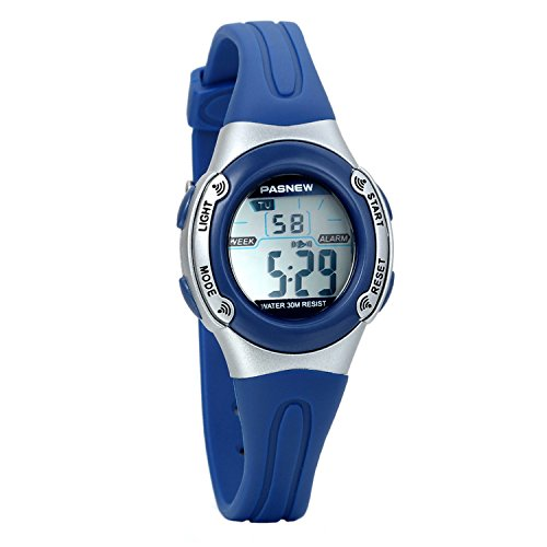 Avaner Cool Waterproof Led Electronic Digital Sport Watches with Blue Rubber Strap Alarm Chronograph Stopwatch Multi Function for Children Boys by Avaner