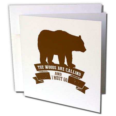 3dRose Russ Billington Designs - The Woods are Calling- Bear and Scroll Design in Brown - 6 Greeting Cards with envelopes (gc_287522_1)