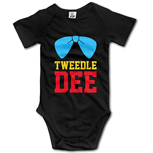 LWI DIW Tweedle Dee Bow Tie Comfortable Newborn Baby Boys Girls Soft Short-Sleeve Bodysuit Romper Outfits -