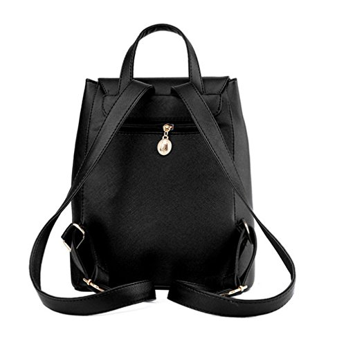 Daypack Leather Rucksack Girls Schoolbag PU Women for Backpack Black Casual Azpq5W
