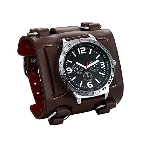 JewelryWe Mens Wirst Watch Hip-hop Gothic Punk 3 Eyes Quartz Watch Wide Genuine Leather Cuff Wirstwatch Black - Watch Quartz Eye