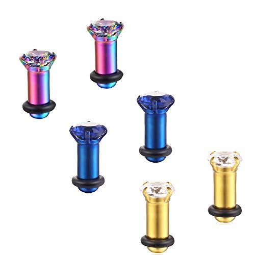 3Pairs Lightweight Ear Gauges Plugs Tunnels8G/3mm 316L Stainless Steel Prong Setting Clear/Blue/Rainbow CZ Ear Stretcher Expander Plugs with Rubber O-Rings (D02:3Pairs(8G=3mm))